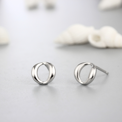925 sterling silver simple ring stud earrings
