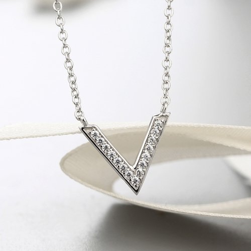 925 sterling silver capital V letter cz stones necklaces