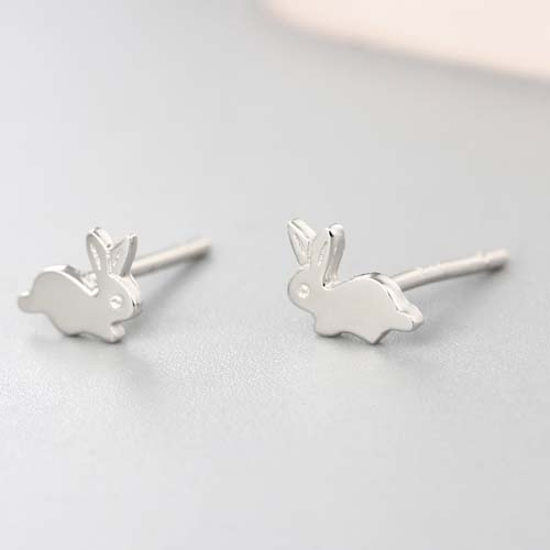925 sterling silver lovely rabbit stud earrings for cute girls