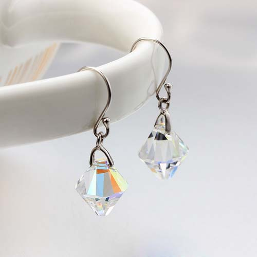 925 sterling silver crystal hook earrings