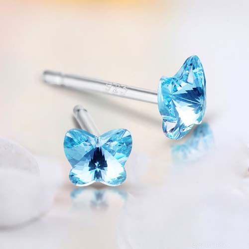 925 sterling silver multi-color optional crystal butterfly stud earrings