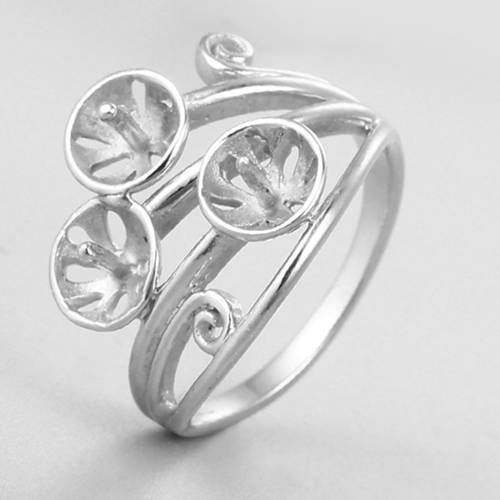 925 sterling silver ring mountings for three pearls