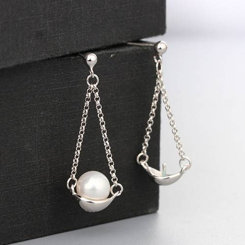 925 sterling silver hanging pearl earring findings