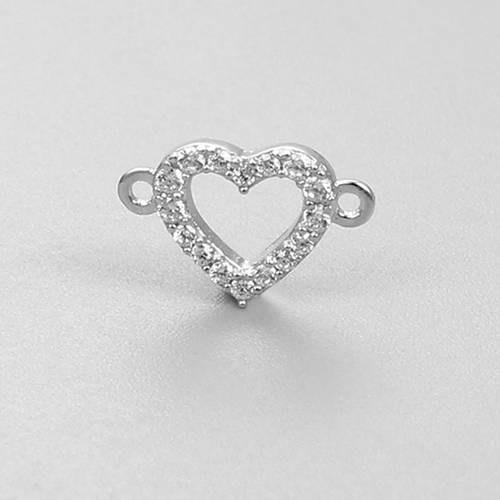 925 sterling silver heart connector charms