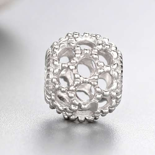 925 sterling silver hollow round beads