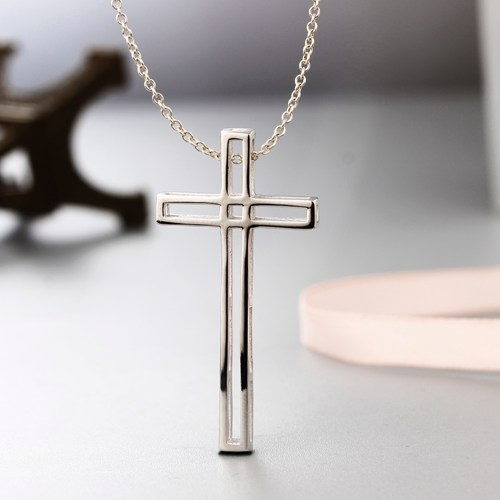 925 sterling silver simple hollow cross pendants