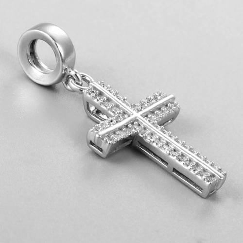 925 sterling silver cubic zirconia cross dangle bead