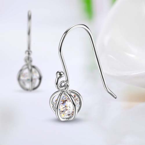 925 sterling silver cubic zirconia cage hook earrings