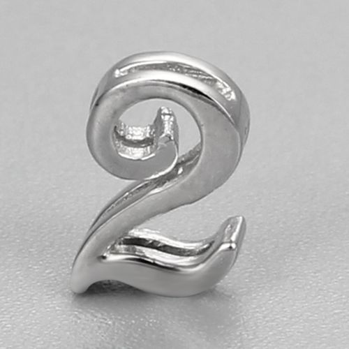 925 sterling silver number 2 charms