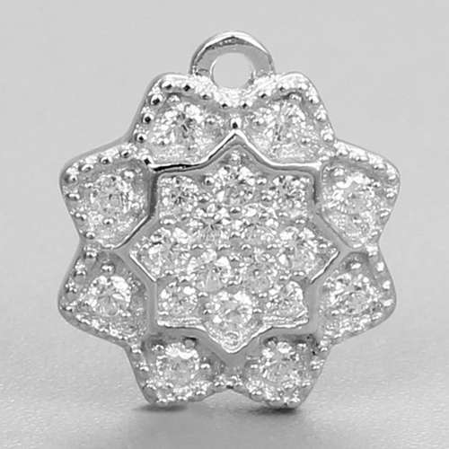 925 sterling silver cz pave flower pendant charms