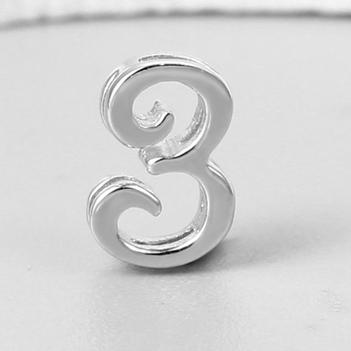 925 sterling silver number 3 charms