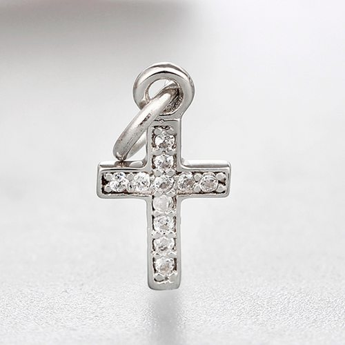925 sterling silver cubic zirconia cross charms