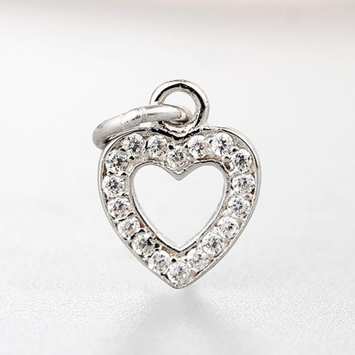 925 sterling silver cz hollow heart charms
