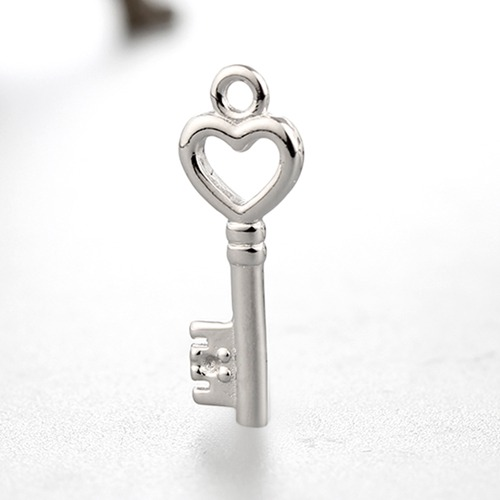 925 sterling silver heart shaped key charms