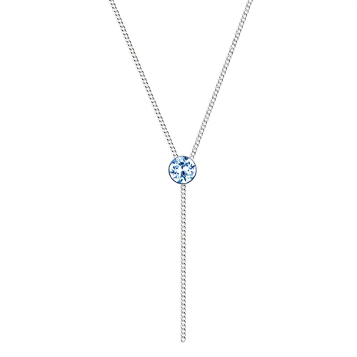 925 sterling silver round crystal charm long necklace