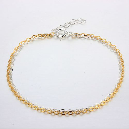 925 sterling silver double layers  chain bracelets