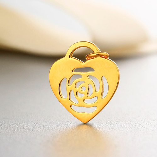 925 sterling silver rose heart charm