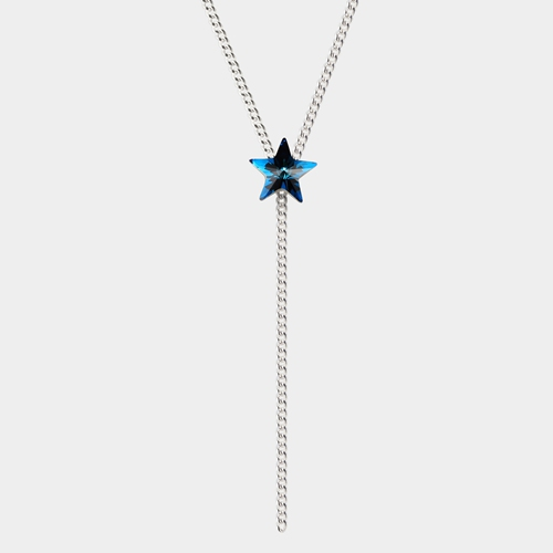925 sterling silver blue star crystal charm necklaces