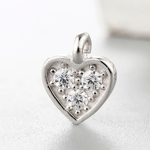 925 sterling silver cubic zirconia heart charms