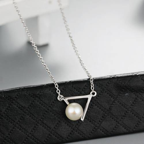 925 sterling silver triangle clip pearl charm necklaces