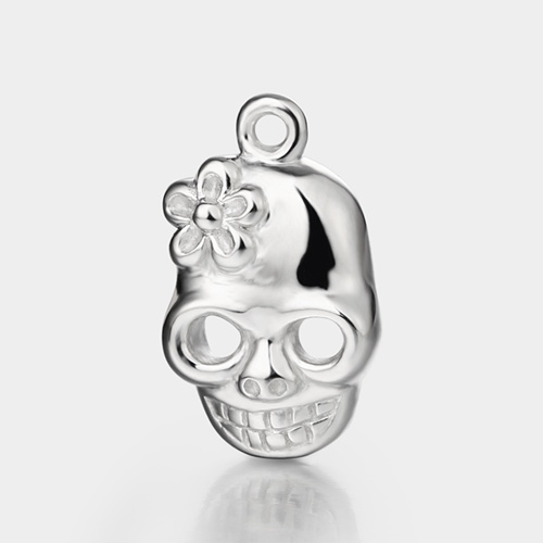 925 sterling silver skull charm with flower