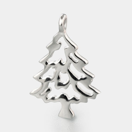 925 sterling silver hollow Christmas tree charm