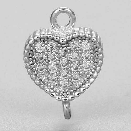 925 sterling silver heart connector charm