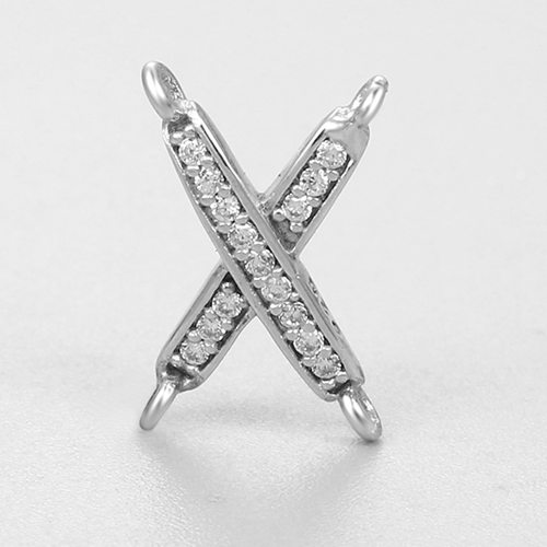 925 sterling silver cz pave X connector charms