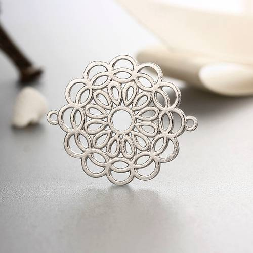925 sterling silver flower connector charms