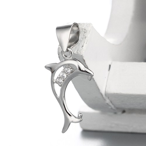 925 sterling silver cz stone hollow dolphin pendant clasps