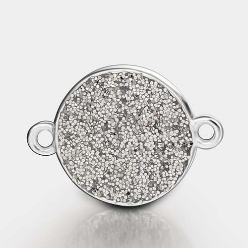 925 sterling silver gillter round connector charms