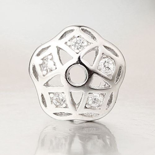 925 sterling silver cz stone flower spacer bead caps