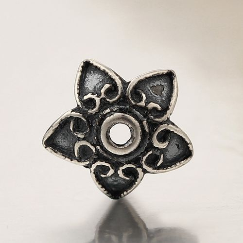 Oxidized 925 sterling silver flower bead caps