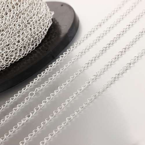 925 sterling silver 40C 3.0*4.0 loose curb chains for diy jewelry