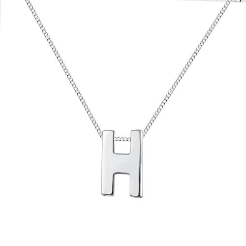 925 sterling letter H chain necklaces