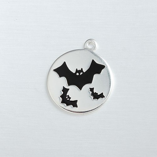 925 sterling silver Halloween enamel black bats tag