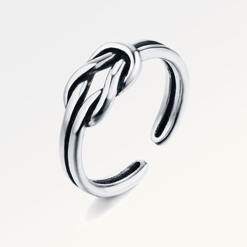 Oxidized 925 sterling silver knot ring