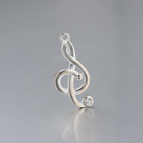 925 sterling silver cz music note charm