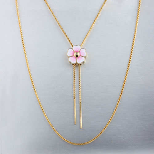 Adjustable enamel flower charm slider necklace