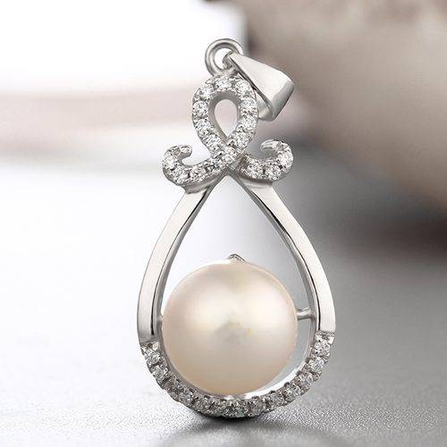 925 sterling silver cz waterdrop pendant for pearl