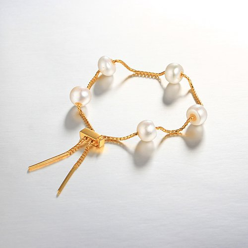 925 sterling silver slider pearl adjustable bracelet