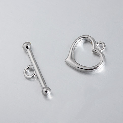 925 sterling silver heart toggle clasp