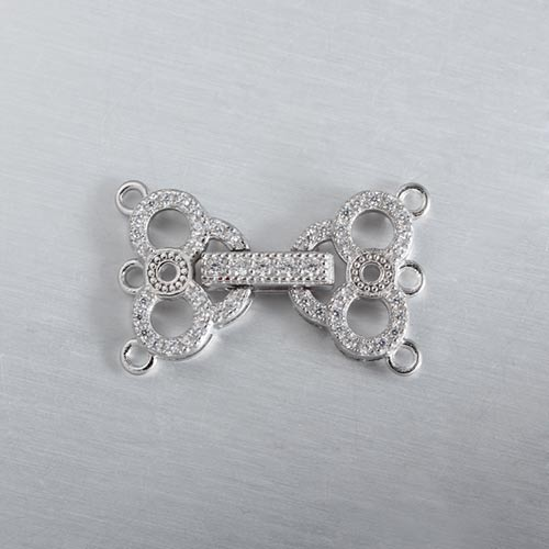925 sterling silver cz pearl clasp for three layers