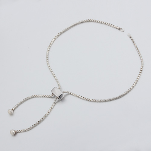 925 sterling silver box chain adjustable bracelet