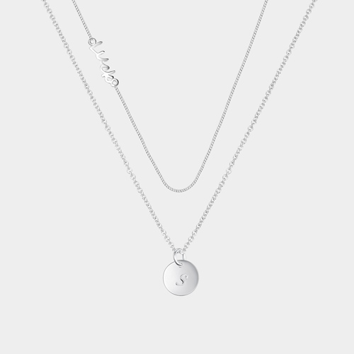 925 silver round tag double chain layered necklace