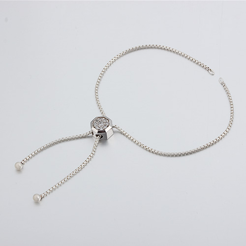 925 silver cz bead box chain adjustable bracelet