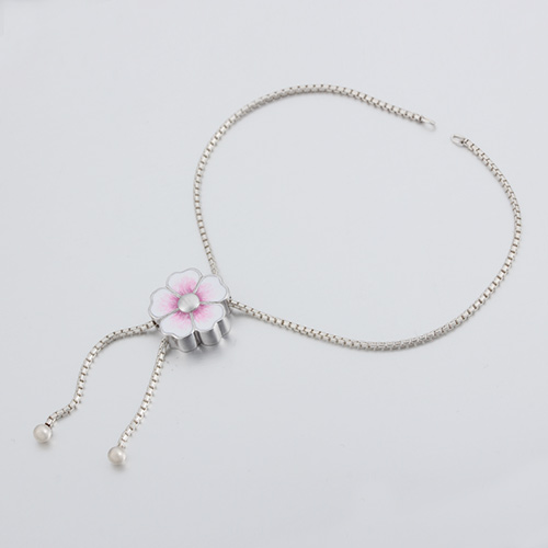 925 silver enamel flower box chain adjustable bracelet