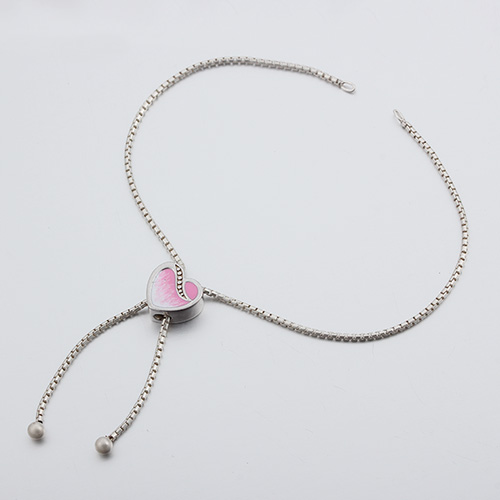 925 silver enamel heart box chain adjustable bracelet