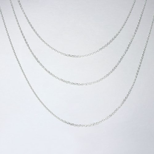 925 silver three layers hammer cable chain necklace