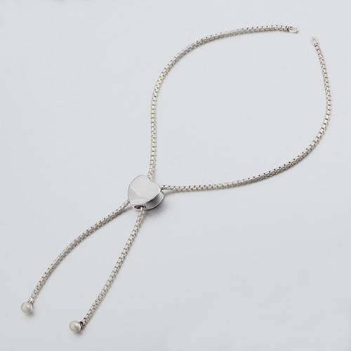 925 sterling silver heart slider box chain bracelet finding